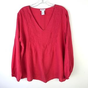 Sundance Linen Pleated VNeck Top #1771